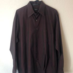 Men's DKNY burgundy dress shirt size 17 neck